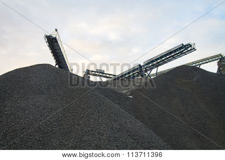 Rock Crushing Plant Over The Piles Of Gravel