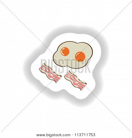 stylish paper sticker fried eggs with bacon