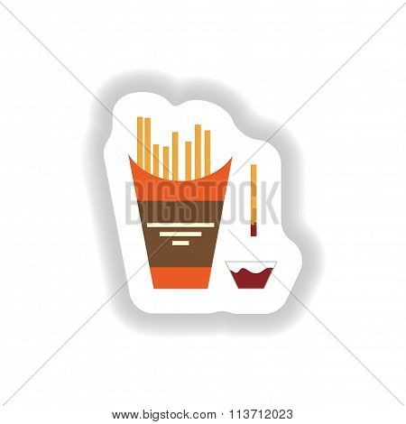 stylish paper sticker French fries and ketchup