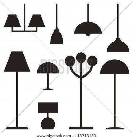 Lamps isolated black silhouette icons on white background.