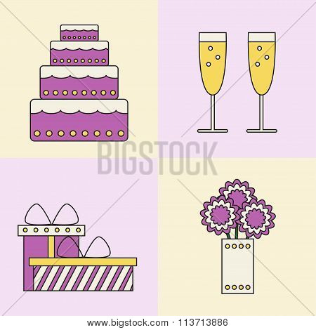 Party icons on colored background.