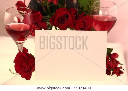 Romantic Invitation With Wine And Roses