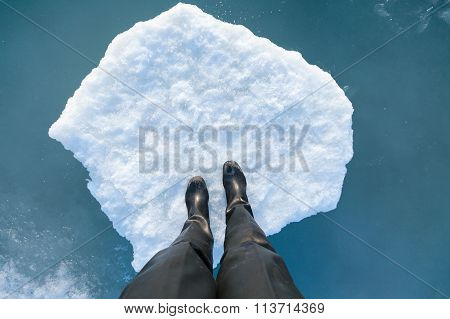 Human Leg On A Ice Floe