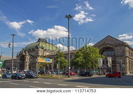 NUREMBERG, GERMANY - AUGUST 23, 2015: Main entrance of the central railway station in Nuremberg