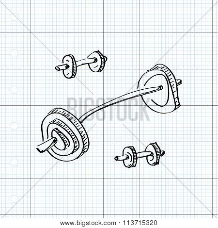Simple Doodle Of A Dumbell