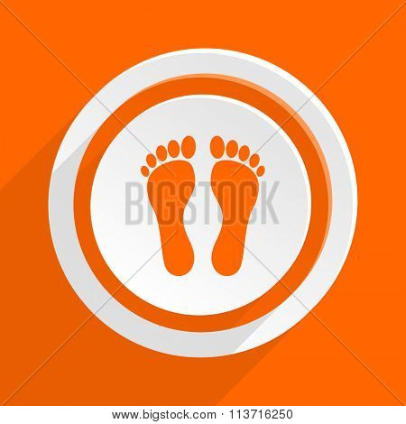 foot orange flat design modern icon for web and mobile app