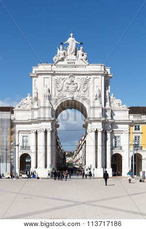 Rua Augusta Arch front in Lisbon, Portugal