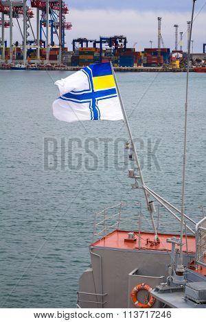 Odesa, UKRAINE - MARCH, 26, 2015: Flag of Ukrainian navy on the Hetman Sagaydachny warship