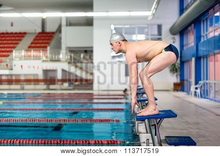 Active Swimmer Getting Ready For Jumping In Pool