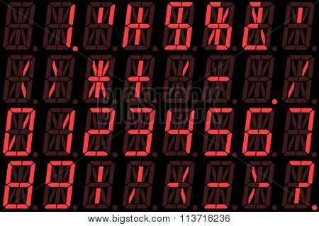 Digital Numbers On Red Alphanumeric Led Display