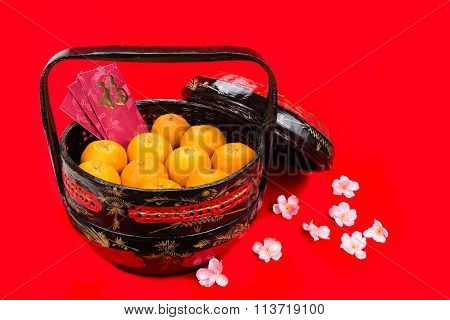 Mandarin Oranges In Basket With Red Envelope Good Luck Character