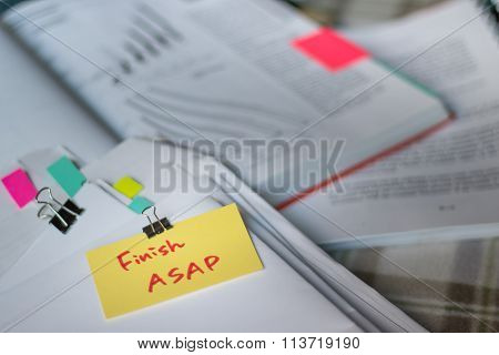 Finish Asap; Stack Of Documents With Large Amount Of Analytic Material.