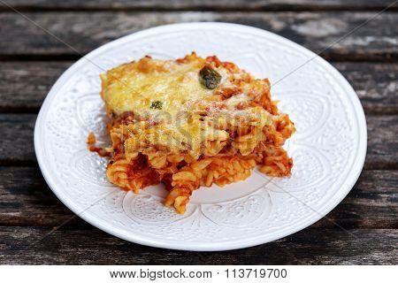 Tuna Pasta Bake With Cheese And Tomatoes