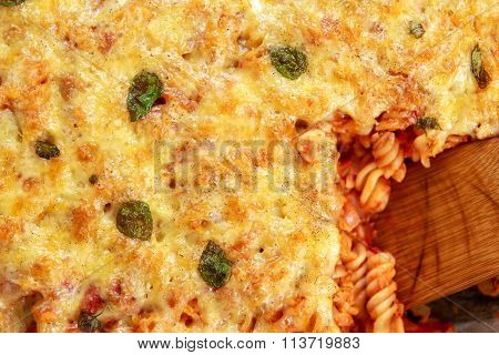 Tuna Pasta Bake With Cheese And Tomatoes. View From Top