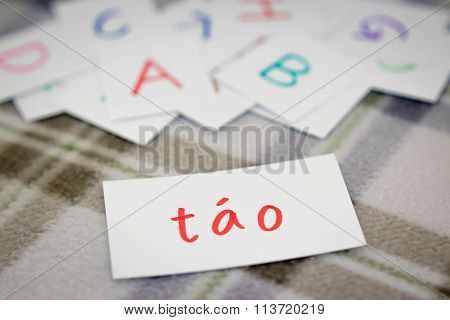 Vietnamese; Learning The New Word With The Alphabet Cards; Writing Apple