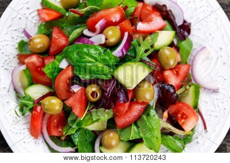 Fresh Raw Vegetable Mixed Salad. Close Up View From Top.