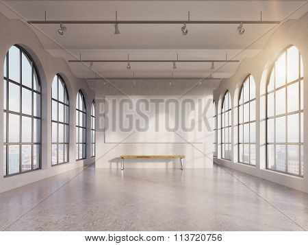 Empty Spacious Hall. 3D rendering.