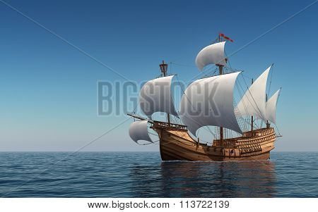 Caravel In The Blue Sea