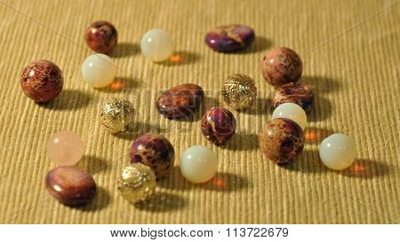 Several beads on the mat