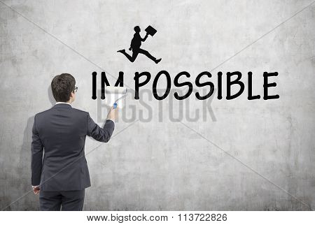 Man Writing The Word 'possible'