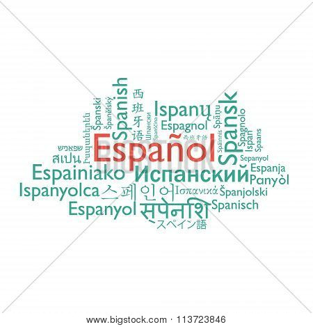 Spanish language word collage.