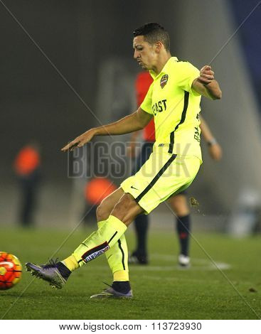BARCELONA - DEC, 7: Zouhair Feddal of Levante UD during a Spanish League match against RCD Espanyol at the Power8 stadium on December 7, 2015 in Barcelona, Spain