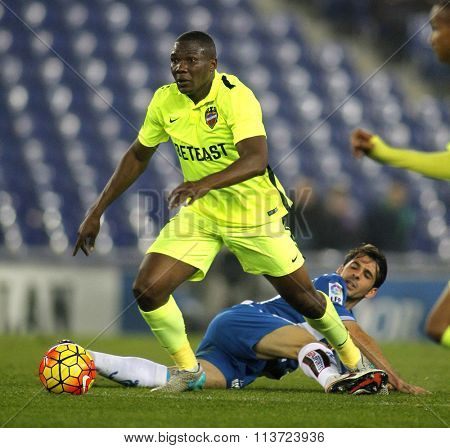 BARCELONA - DEC, 7: Simao Mate Junior of Levante UD during a Spanish League match against RCD Espanyol at the Power8 stadium on December 7, 2015 in Barcelona, Spain