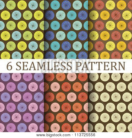 Set of Six Floral Seamless Patterns