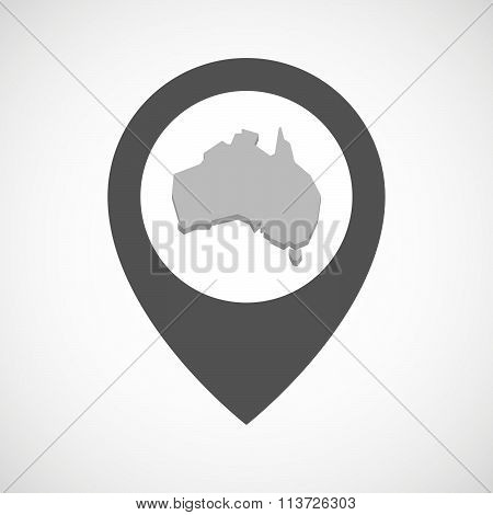Isolated Map Marker With  A Map Of Australia