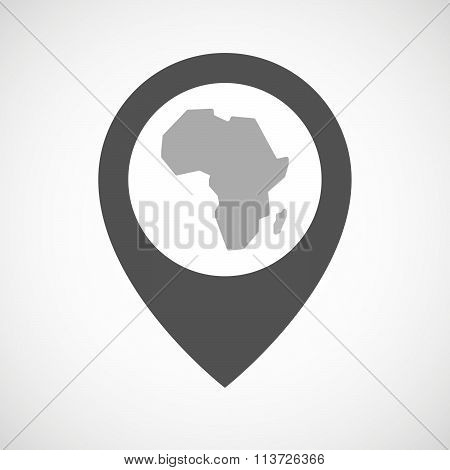 Isolated Map Marker With  A Map Of The African Continent