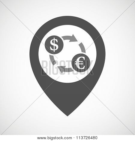 Isolated Map Marker With A Dollar Euro Exchange Sign