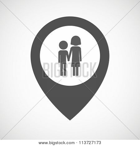 Isolated Map Marker With A Childhood Pictogram