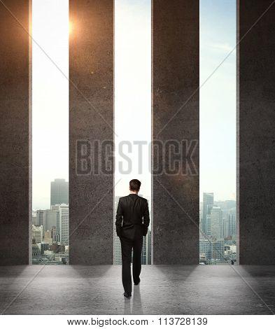 Businessman And  Three Holes