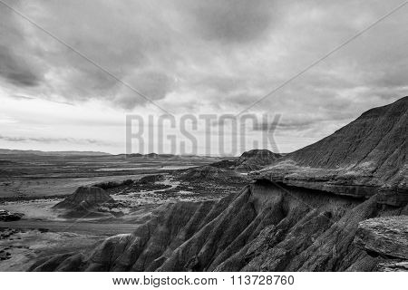 Cloudy Day In Bardenas In Black And White