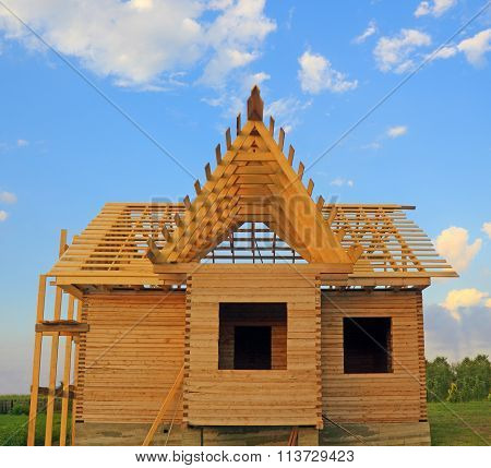 Timber House Under Constructoin With Roof Frame Front View