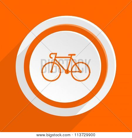 bicycle orange flat design modern icon for web and mobile app