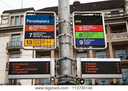Tram Stop In Zurich