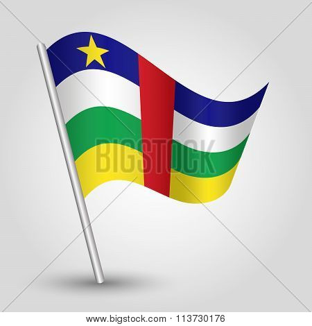 Vector Waving Simple Triangle Flag On Slanted Pole