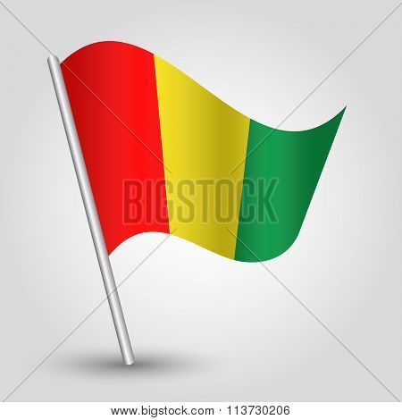 Vector Waving Simple Triangle Guinean Flag On Slanted Pole
