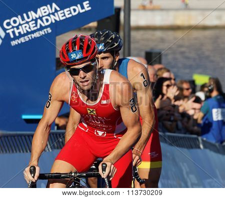 STOCKHOLM SWEDEN - AUG 23 2015: Cycling triathlete Alois Knable (AUT) in the Men's ITU World Triathlon series event August 23 2015 in Stockholm Sweden