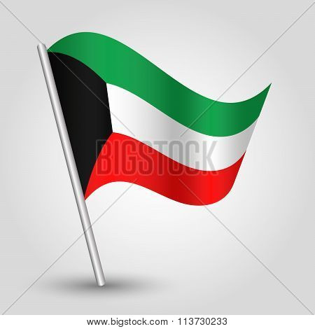 Vector Waving Simple Triangle Kuwaiti  Flag On Slanted Pole