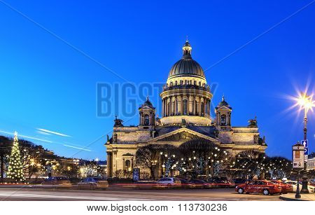 Night View Of St. Isaac's Cathedral In St. Petersburg, Russia.