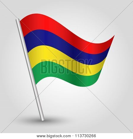 Vector Waving Simple Triangle Mauritian Flag On Slanted Pole