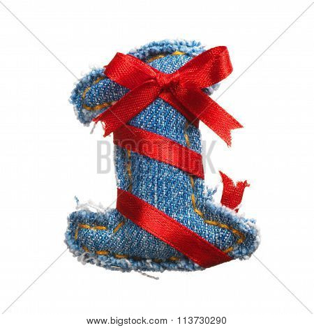 Jeans Alphabet Digit With Holiday Red Ribbon