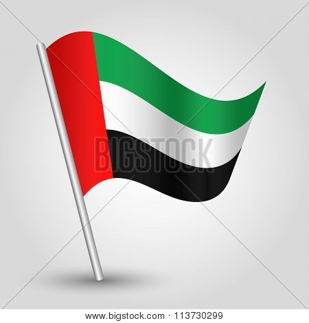 Vector Waving Simple Triangle Arabic Flag On Slanted Pole