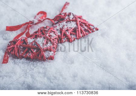 Two Beautiful Romantic Vintage Red Hearts Tied Together With A R