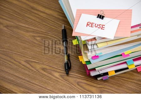 Reuse; The Pile Of Business Documents On The Desk