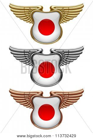 Gold, silver and bronze award signs with wings and Japan state flag. Vector illustration