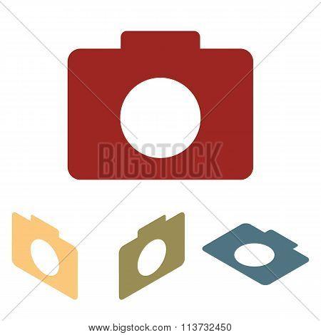 Camera icon set. Isometric effect