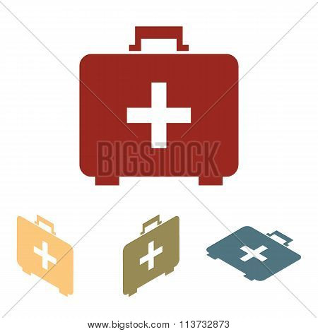First aid box icon set. Isometric effect